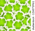 Green clover pattern. Vector background for St. Patrick's Day - stock vector