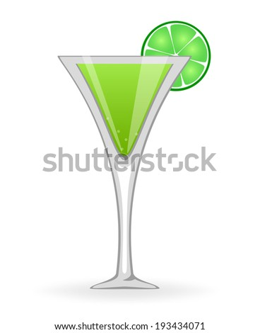 Green cocktail  - stock vector