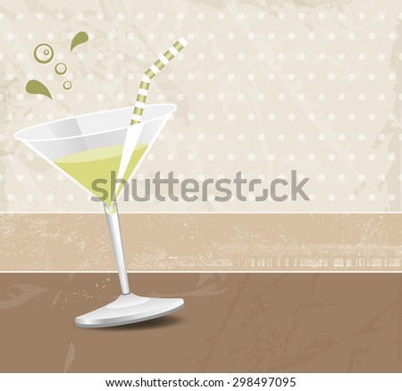 Green cocktail against brown background in retro style - stock vector
