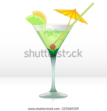 Green cocktail with lime, orange and cherry in martini glass isolated on white. Vector illustration - stock vector