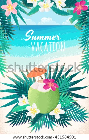 Green coconut cocktail with frangipani (plumeria) flowers and palm leaves. Coconut water, tropical beach party. Retro vector illustration. Place for your text. Invitation, banner, card, poster, flyer