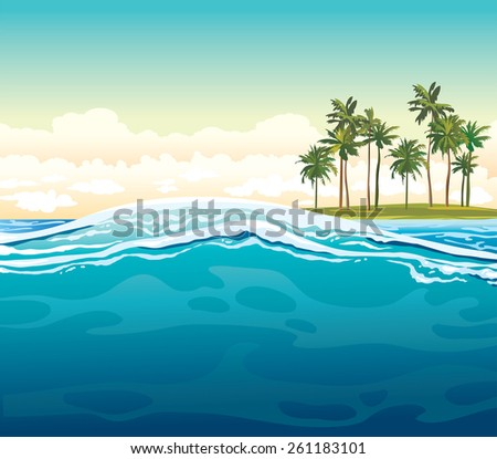 Green coconut island and waves on a blue sea. Vector tropical summer illustration. - stock vector