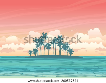 Green coconut island ans sea on a sunset sky with clouds. Vector tropical seascape illustration. - stock vector