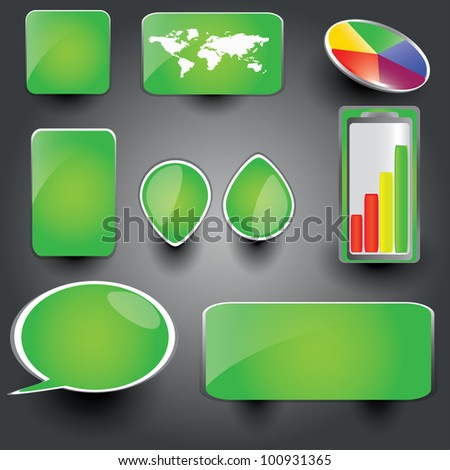 Green collection of brightly colored, glossy web elements Perfect for adding your own text or icons. Blends used to create drop shadow effect. - stock vector