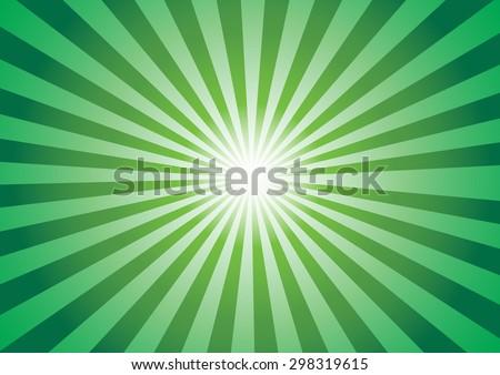Green color burst background. Vector illustration - stock vector