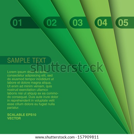 Green color scale edition Abstract geometric scalable eps10 composition of 3d sheets as a paper background, minimal layout design for universal use  - stock vector