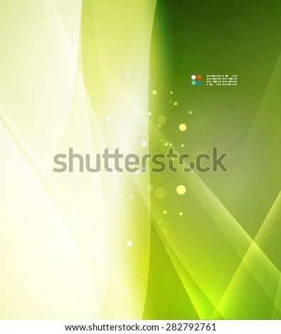 Green color shining, waves and lines. Abstract background - stock vector