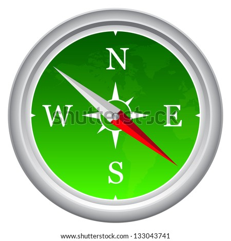 Green Colored Compass With World Map As Background - stock vector
