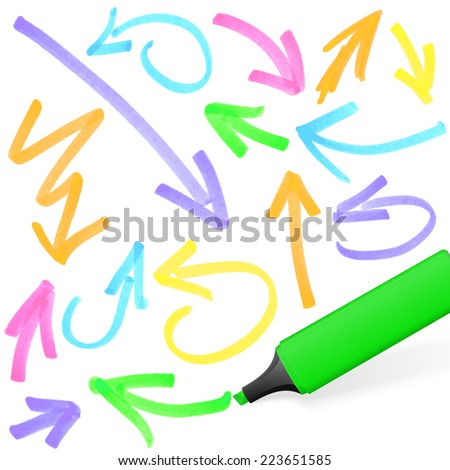 green colored highlighter with different hand drawn markings - stock vector
