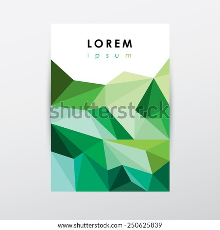 green colorful trendy low polygon style brochure cover for business presentations- modern triangular geometric composition - stock vector