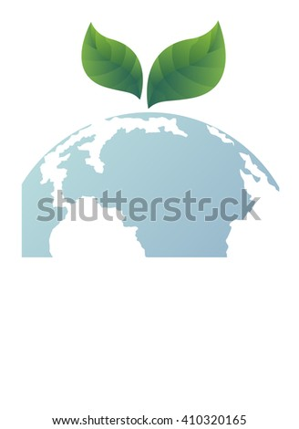 Green concept. Leaf on the earth  (Elements of this image furnished by NASA)