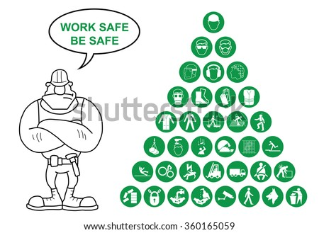 Green construction manufacturing and engineering health and safety related pyramid icon collection isolated on white background with work safe message - stock vector