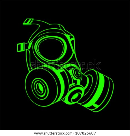 Green contour gas mask isolated over black - stock vector