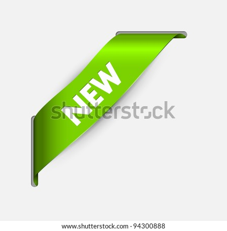 Green corner ribbon for a new item going through the background - stock vector