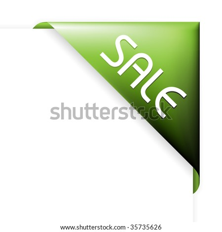 Green corner ribbon for items with sale in your eshop - stock vector