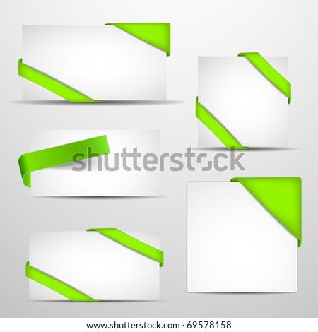 Green corners set. Vector illustration. - stock vector