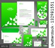 Green corporate identity template with floral elements. Vector company style for brandbook and guideline. EPS 10 - stock vector