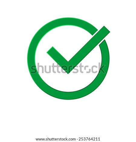 Green correct symbol isolated on  white background - stock vector