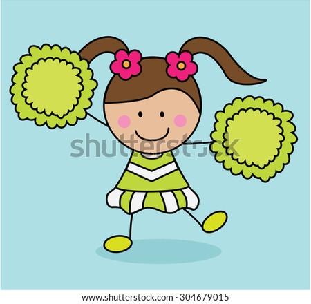 Green costume girl cheerleader - stock vector
