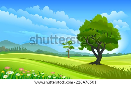 Green Country Side - stock vector
