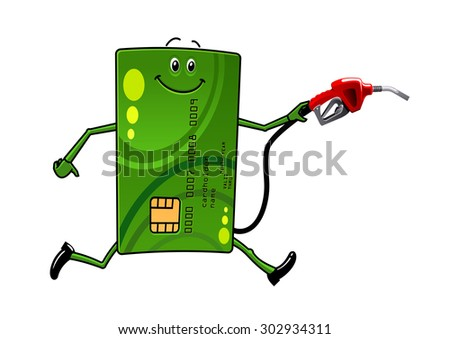 Green credit card character running with petrol or gasoline pump in hand - stock vector