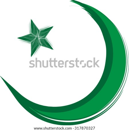 Green Crescent Moon Star On White Stock Vector Royalty Free