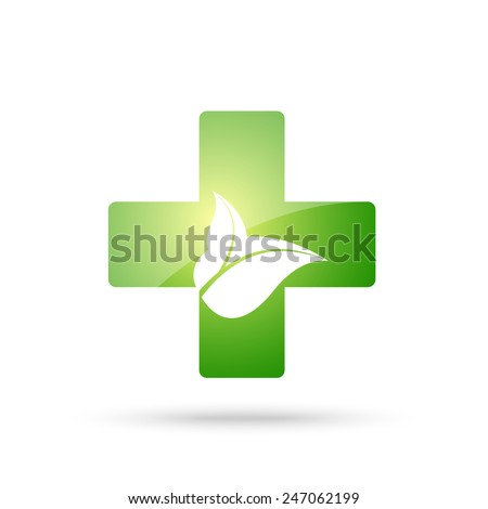 Green cross sign with leaves - stock vector