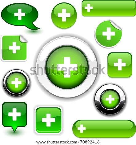 Green cross vector high-detailed icons.