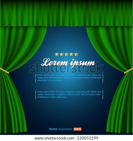 green curtain vector - stock vector