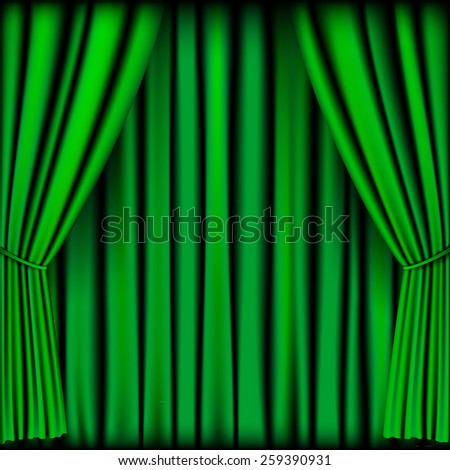 green curtain vector for background - stock vector