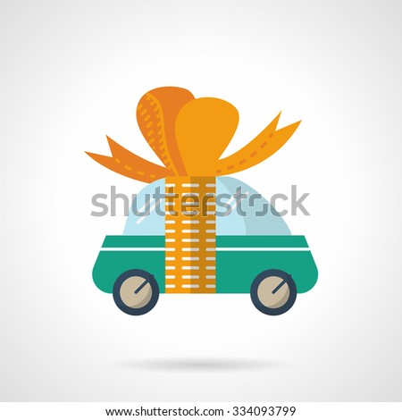 Green cute car with orange ribbon with bow. New car, car gift. Flat color style vector icon. Single web design element for site or mobile app. - stock vector