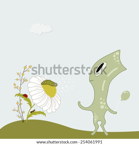 Green cute cartoon monster  with chamomile and insects - stock vector