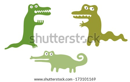 Green cute crocodiles. Set of cute googly eyed cartoon crocodiles. Fairy tale monsters. Isolated on white. Vector elements are grouped.