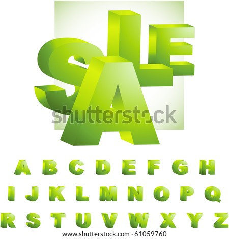 Green 3d alphabet. Vector set. - stock vector