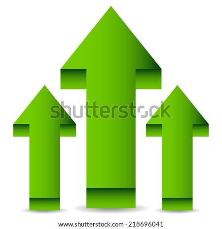 Green 3d arrows up, upward arrows - stock vector