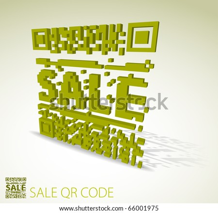 Green 3D qr code for item in sale  (modern bar codes) - stock vector