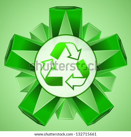 green 3D shape layout with recycle sign vector illustration - stock vector