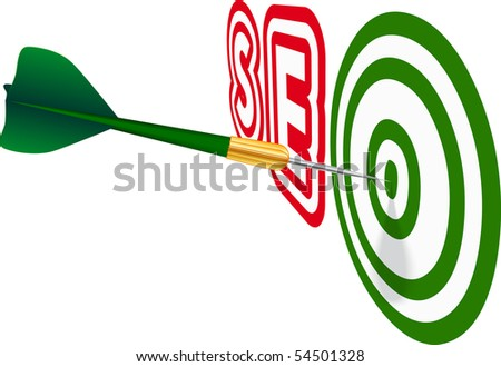 Green dart with SEO text on white background. Concept of success. Vector Illustration. EPS10 - stock vector