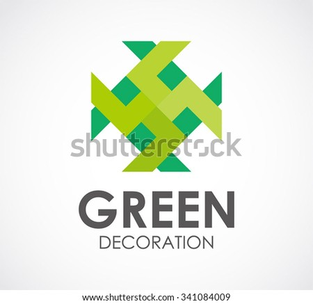 Green decoration star abstract vector and logo design or template nature art business icon of company identity symbol concept - stock vector