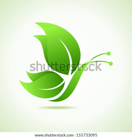 Green decorative butterfly-vector illustration   - stock vector