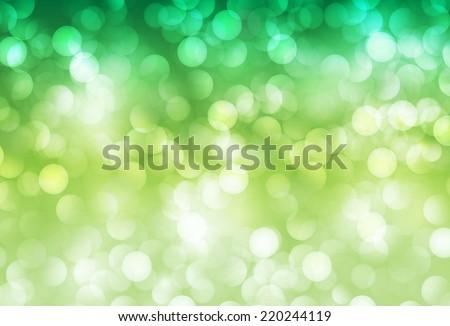 green Defocused Light, Flickering Lights, Vector abstract festive background with bokeh defocused lights.  - stock vector