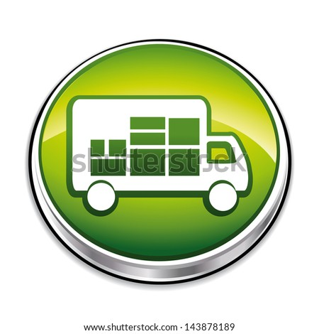 Green delivery 3d icon. Vector illustration. - stock vector