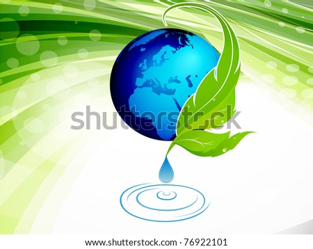 green design background with globe.editable vector illustration