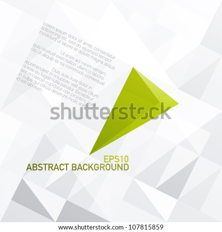 Green diamond shaped symbol on light gray patched surface. Vector, EPS10 - stock vector
