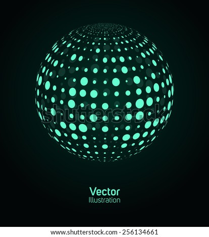 Green digital ball. Vector illustration.
