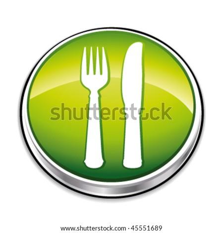 Green dining symbol button. Vector illustration. - stock vector