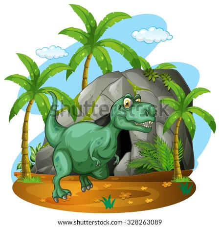 Green dinosaur standing by the cave illustration - stock vector