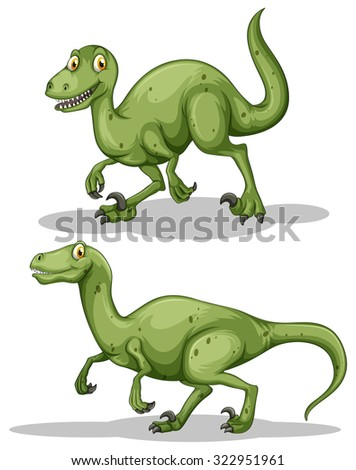 Green dinosaur with sharp teeth illustration - stock vector