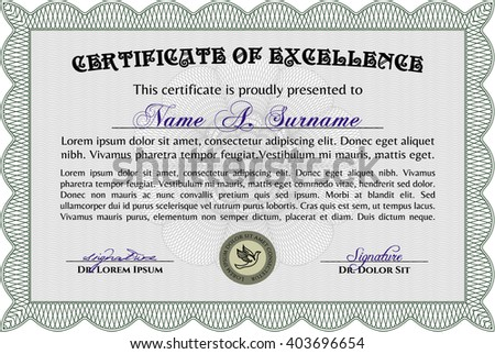Green Diploma Template Or Certificate Template. Vector Pattern That Is Used  In Money And Certificate  Money Certificate Template