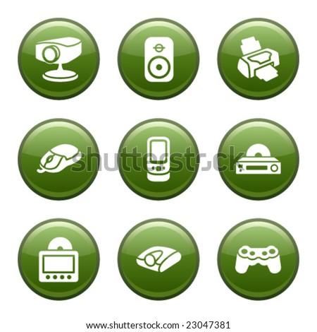 Green disk set 21 - stock vector